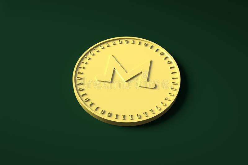 Het gouden muntstuk met het symbool van de digitale crypto munt Monero ligt op de groene doek en giet een schaduw, het 3d terugge royalty-vrije illustratie