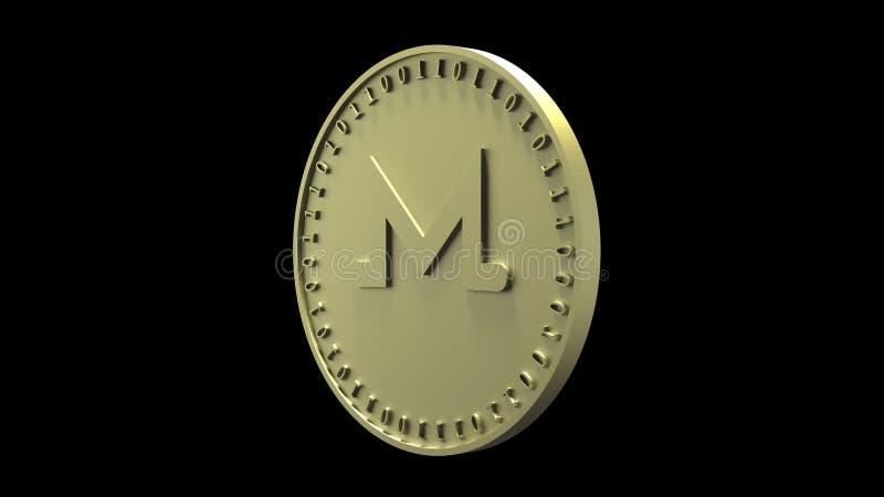 Het gouden muntstuk met het symbool van digitale crypto van Monero munt en binaire code roteert op de rand, die op een zwarte ach stock illustratie