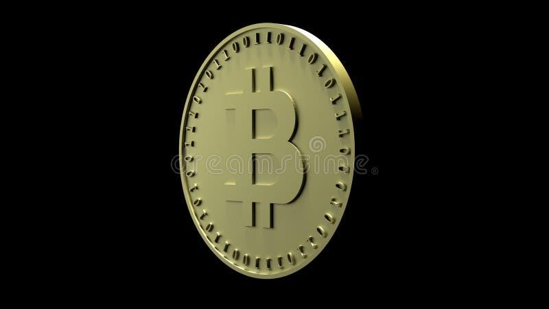 Het gouden muntstuk met het symbool van digitale crypto munt Bitcoin en binaire code is geïsoleerd op een zwarte achtergrond, het royalty-vrije illustratie