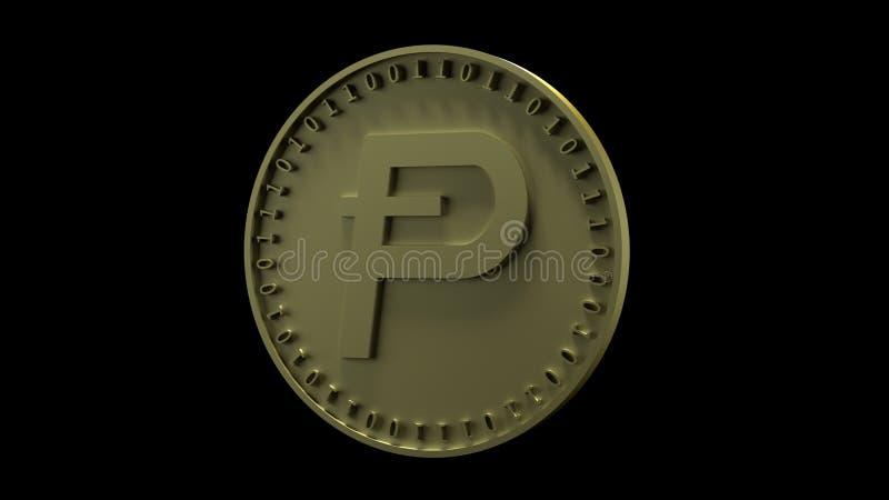 Het gouden muntstuk met het symbool van digitale crypto van Potcoin munt en binaire code bevindt zich op de rand die, op een zwar stock illustratie