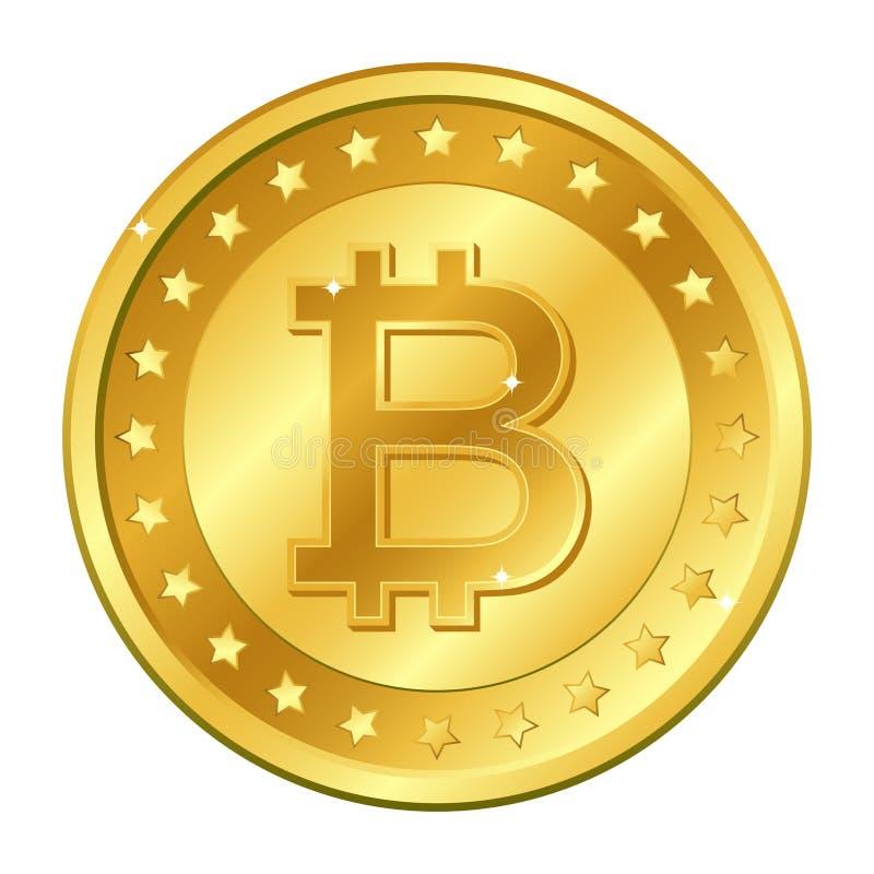 Het gouden muntstuk van de Bitcoinmunt met sterren mijnbouw Cryptocurrency Vector illustratie die op witte achtergrond wordt geïs royalty-vrije illustratie