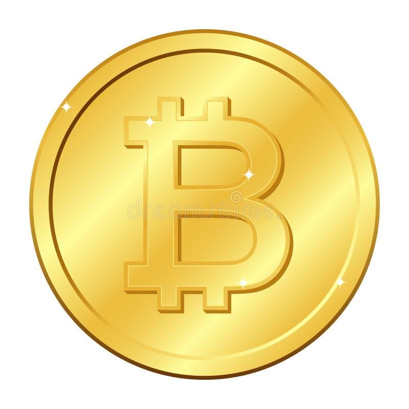 Het gouden muntstuk van de Bitcoinmunt mijnbouw Cryptocurrency Vector illustratie die op witte achtergrond wordt geïsoleerdd vector illustratie