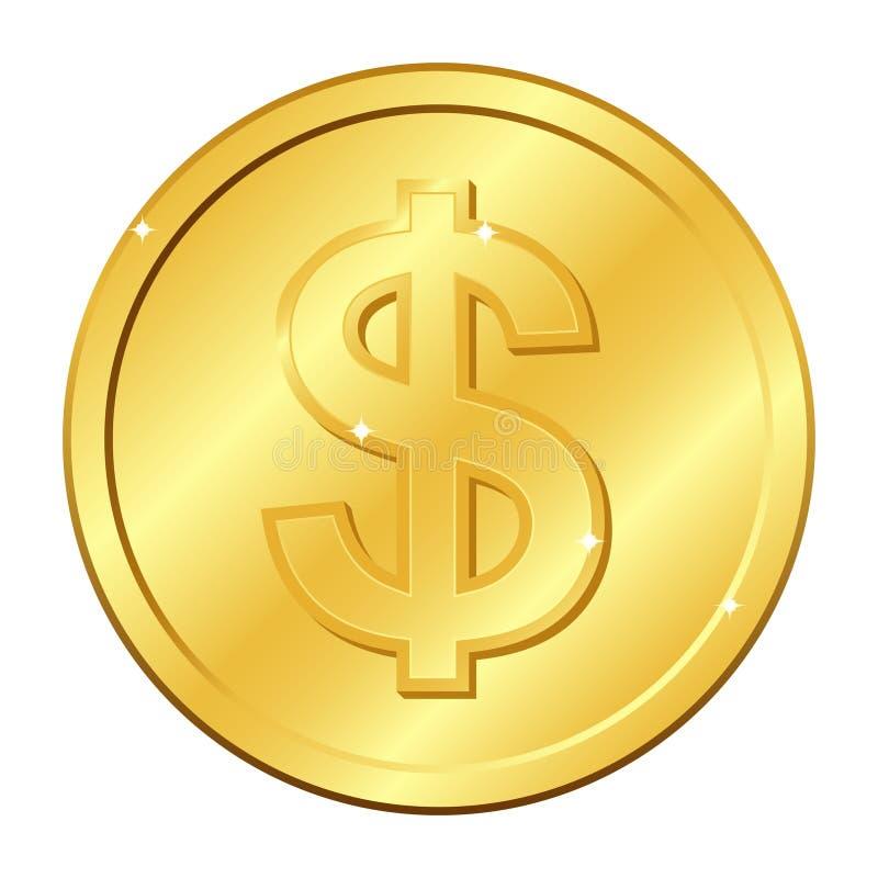 Het gouden muntstuk van de dollarmunt Vector illustratie die op witte achtergrond wordt geïsoleerdd Editableelementen en glans stock illustratie