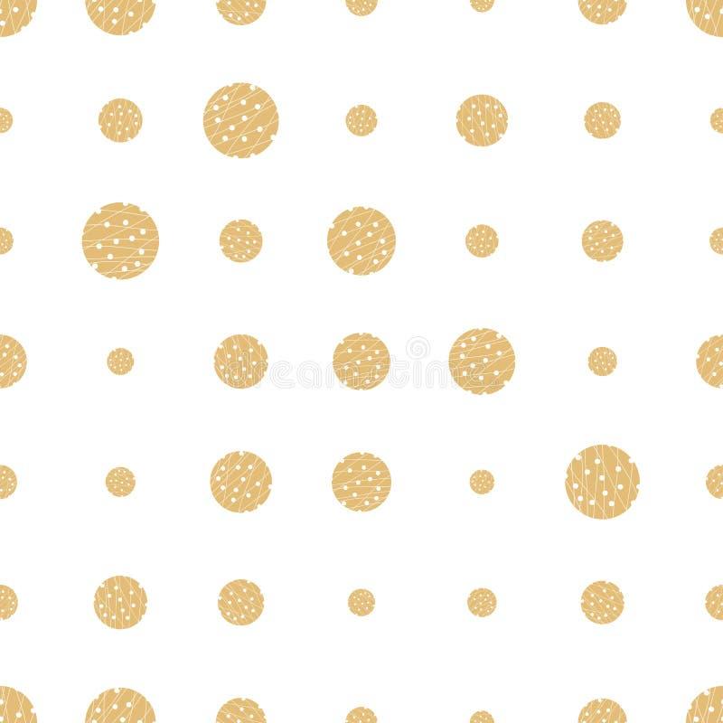 Het gouden naadloze patroon van de grunge halftone punt Gestippelde achtergrond Oneindigheids geometrisch patroon met ronde vorme vector illustratie