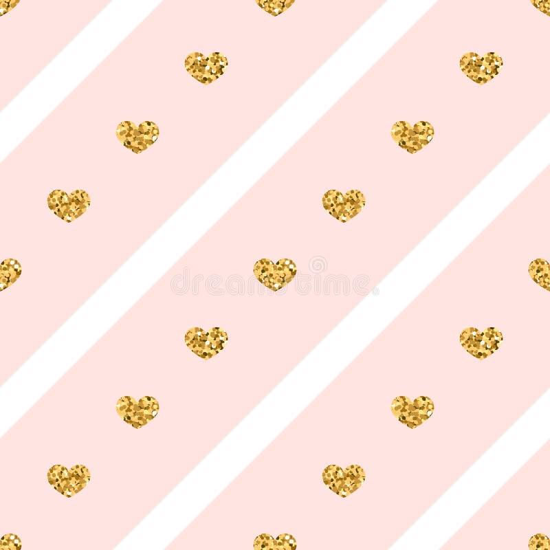 Het gouden naadloze patroon van de hartenlijn royalty-vrije illustratie