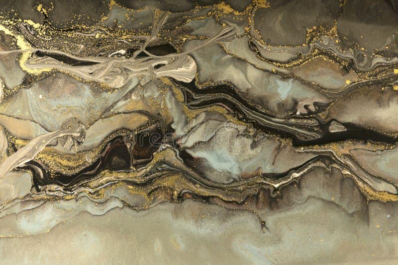 Het gouden ontwerp van de marmeringstextuur Beige en gouden marmeren patroon Vloeibaar art. royalty-vrije stock afbeeldingen
