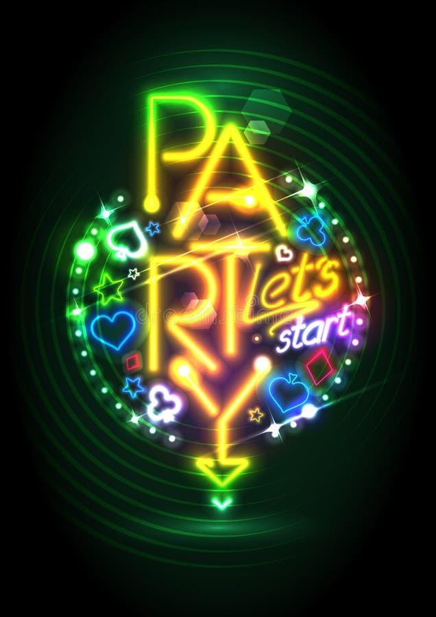 Het gouden ontwerp van de neonlichtenpartij royalty-vrije illustratie