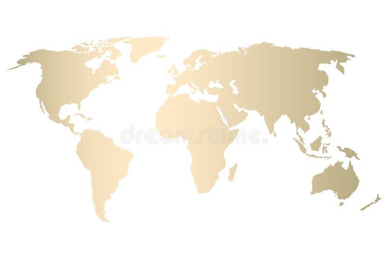 Het gouden ontwerp van de wereldkaart royalty-vrije illustratie