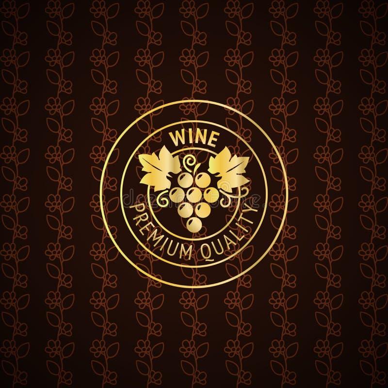 Het gouden ontwerp van het wijnetiket royalty-vrije illustratie