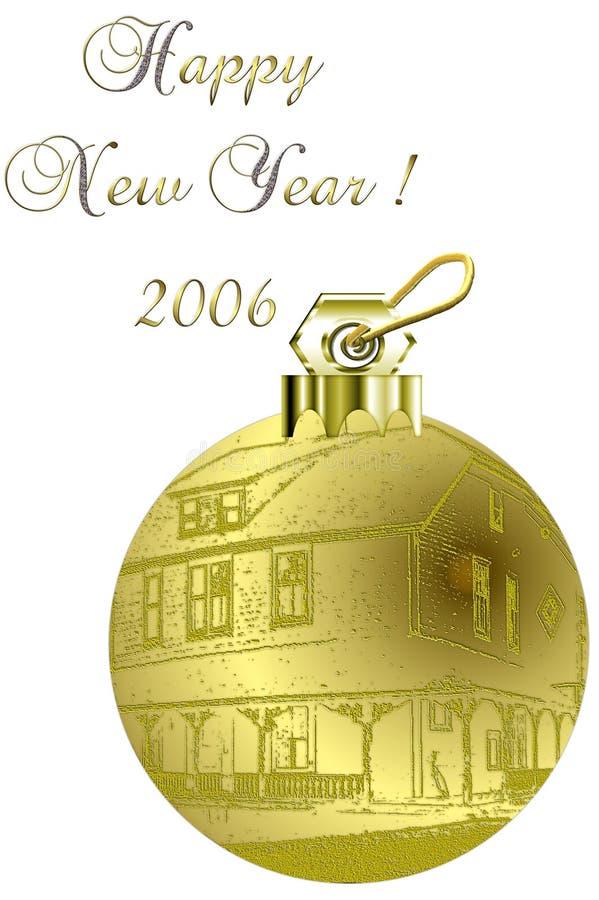 Het gouden Ornament van de Boom van Kerstmis van het Huis vector illustratie