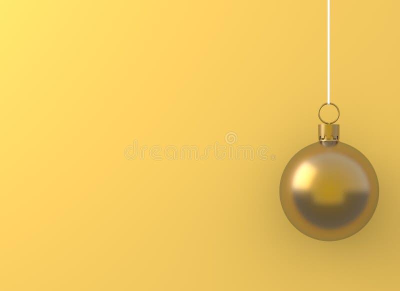 Het gouden het ornament van de Kerstmisbal hangen op gele achtergrond Vakantieconcept, nieuw jaar minimaal conceptenidee vector illustratie