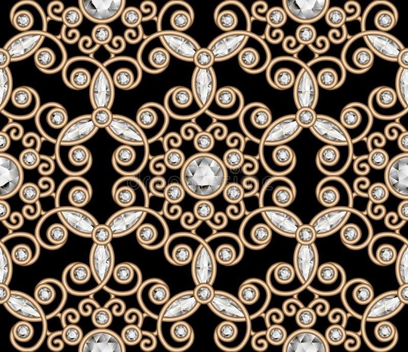 Het gouden patroon van de juwelendiamant stock illustratie