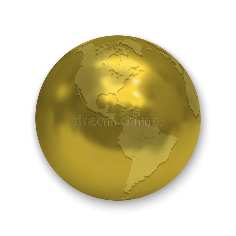 Het gouden pictogram van de Aardebol royalty-vrije illustratie