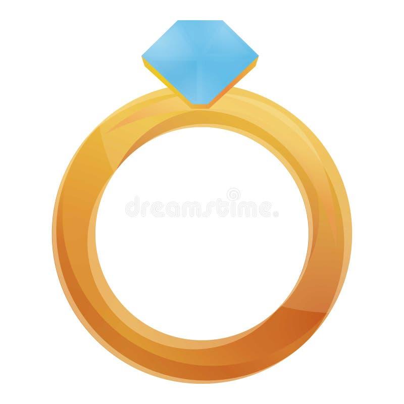 Het gouden pictogram van de diamantring, beeldverhaalstijl vector illustratie