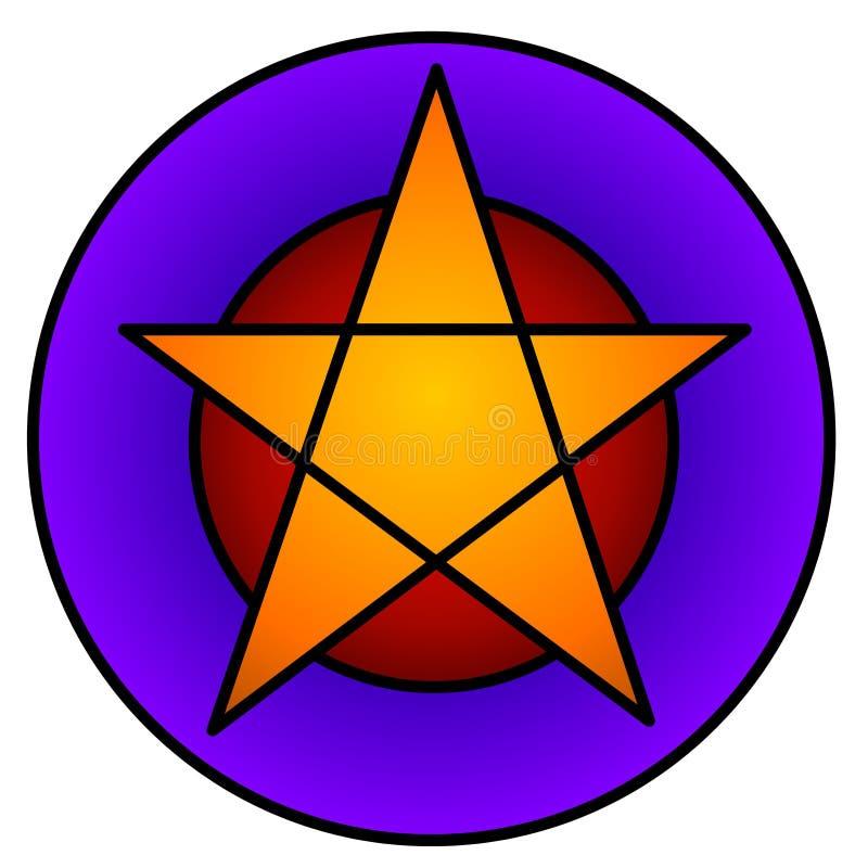 Het gouden Pictogram van het Web van de Ster Pentagram royalty-vrije illustratie