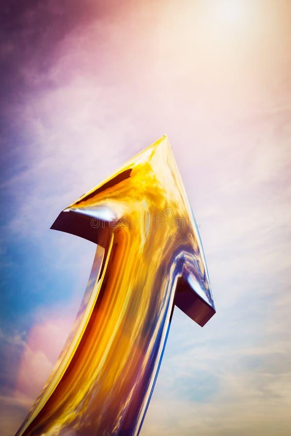 Het gouden pijl richten, die aan de hemel toenemend De conceptuele groei, rooskleurige toekomst, stock illustratie
