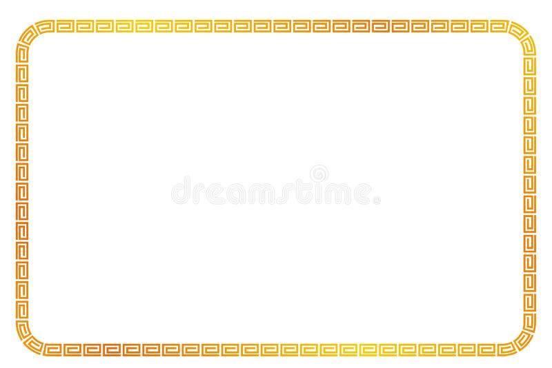Het gouden rechthoekkader voor Certificaat, Aanplakbiljet gaat Xi Vette Cai, Imlek-bracht het Ogenblik of ander China met elkaar  stock illustratie