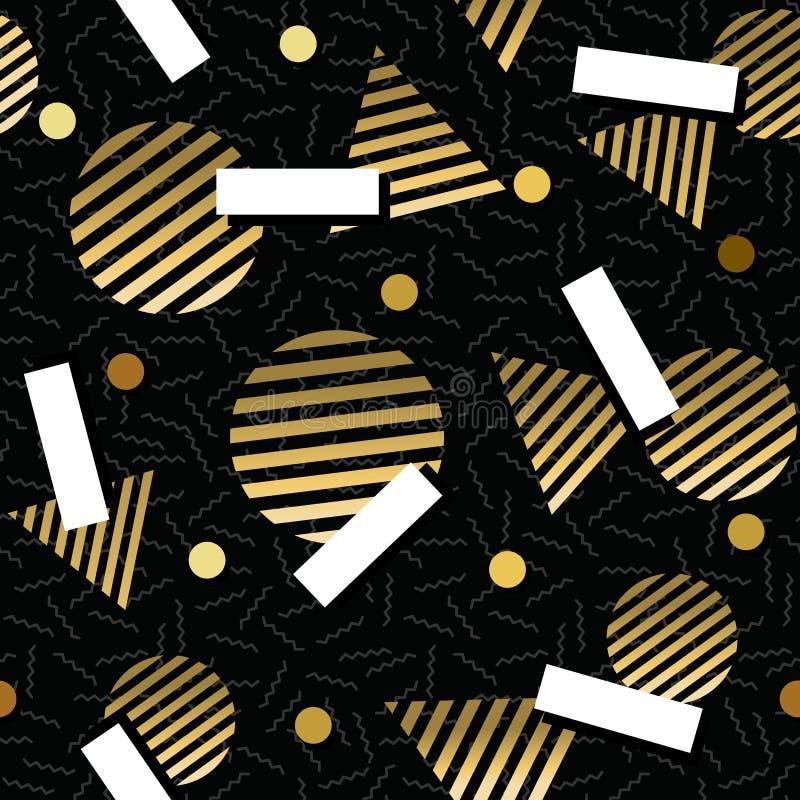 Het gouden Retro uitstekende naadloze patroon van de de jaren '80meetkunde vector illustratie