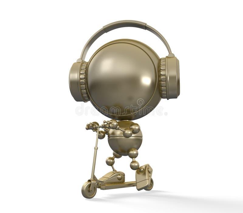 Het gouden robotachtige kind in hoofdtelefoons drijft autoped stock illustratie