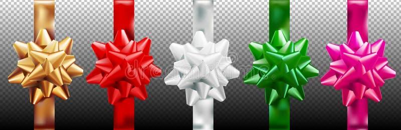 Het gouden, rode, zilveren, groene, roze vastgestelde verticale lint van de giftboog Geïsoleerd op transparante achtergrond Vecto vector illustratie