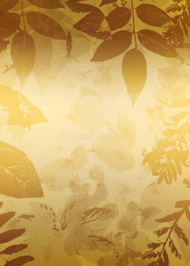 Het gouden Silhouet van Bladeren Grunge stock illustratie