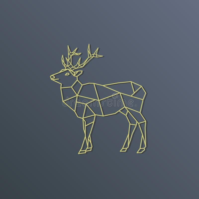 Het gouden silhouet van de hertenveelhoek vector illustratie
