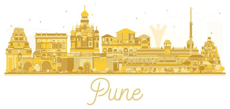 Het gouden silhouet van de Punehorizon stock illustratie
