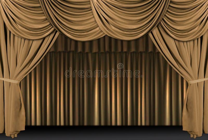 Het gouden Stadium van het Theater Gedrapeerd met Gordijnen stock illustratie