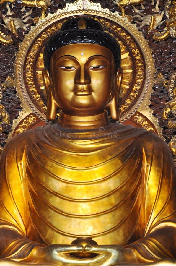 Het gouden standbeeld Sakyamuni royalty-vrije stock afbeeldingen