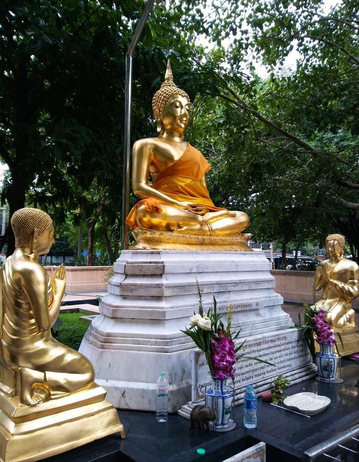 Het gouden standbeeld van Boedha en van discipelen in het park stock foto's