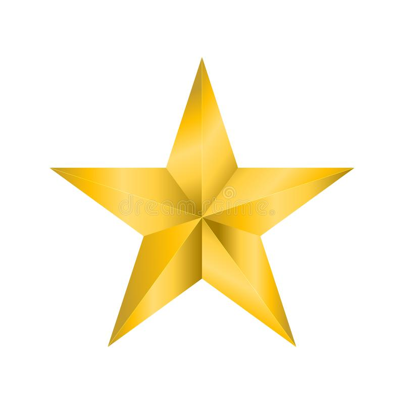 Het gouden sterpictogram isoleert op witte achtergrond stock afbeelding