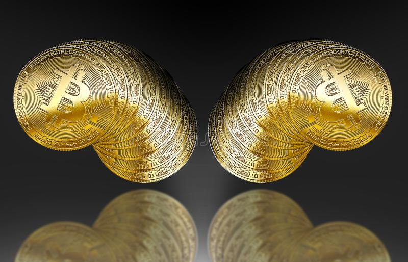 Het gouden symbool bitcoinscryptocurrency geïsoleerde achtergrond van Internet stock illustratie
