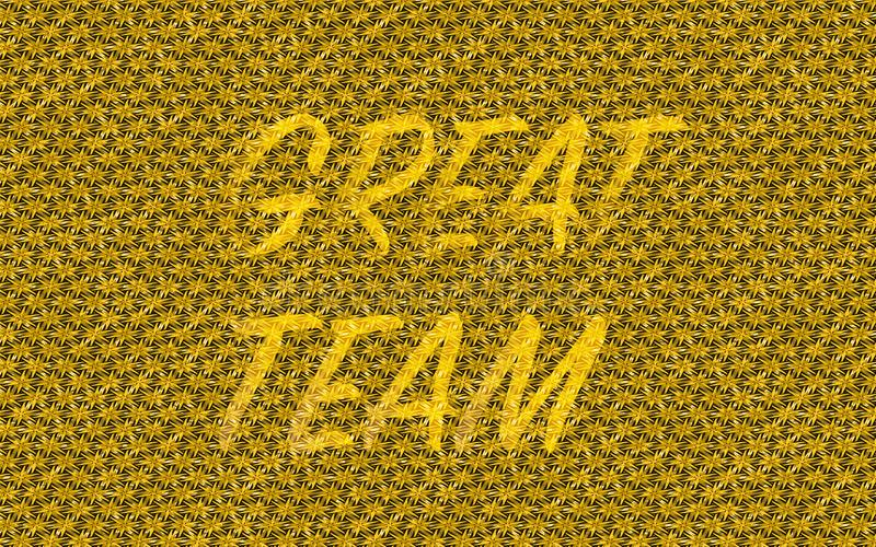 Het gouden team het abstracte geweven goud kleurde, weer versleten achtergrond met het woord grote team vector illustratie