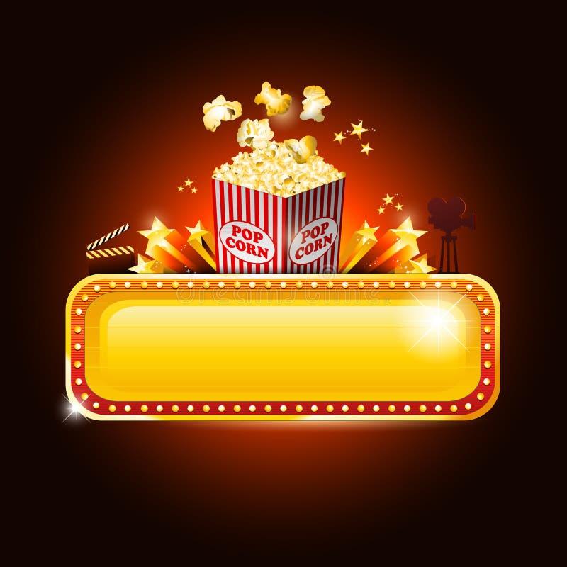 Het gouden teken van de bioscoopbanner met pop graan en exemplaarruimte royalty-vrije illustratie