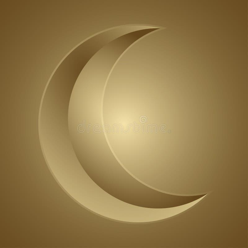 Het gouden toenemende nieuwe pictogram van het maansilhouet Het weerscène EPS 10 van de Astranomyaard vectordieillustratie op tra stock illustratie
