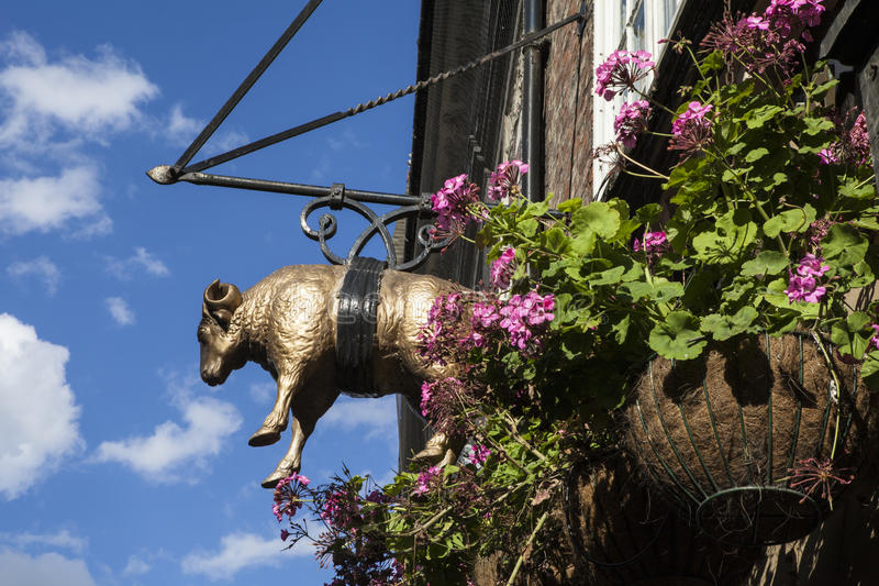 Het Gouden Vacht Café in York stock afbeelding