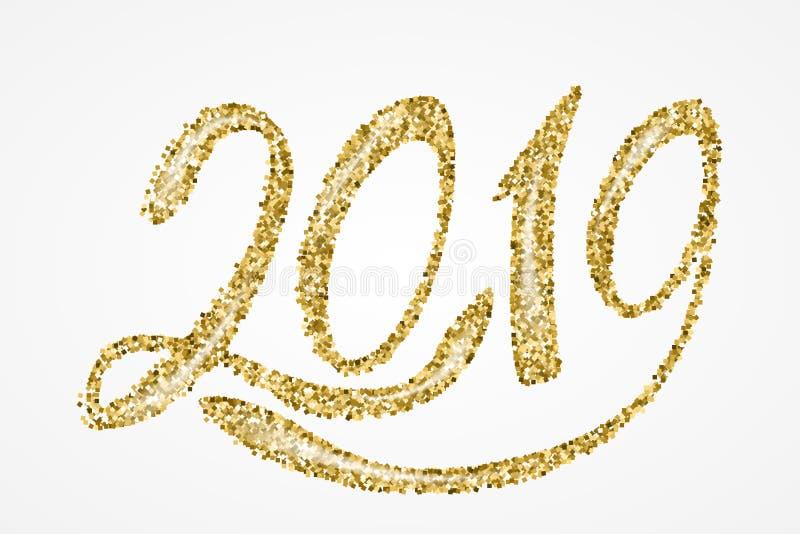 het gouden van letters voorzien van 2019 vector illustratie
