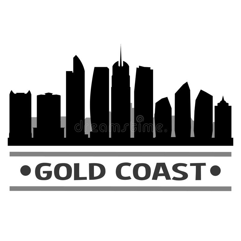 Het gouden van het Pictogram Vectorart design skyline flat city van Kustaustralië Malplaatje van het Silhoueteditable vector illustratie