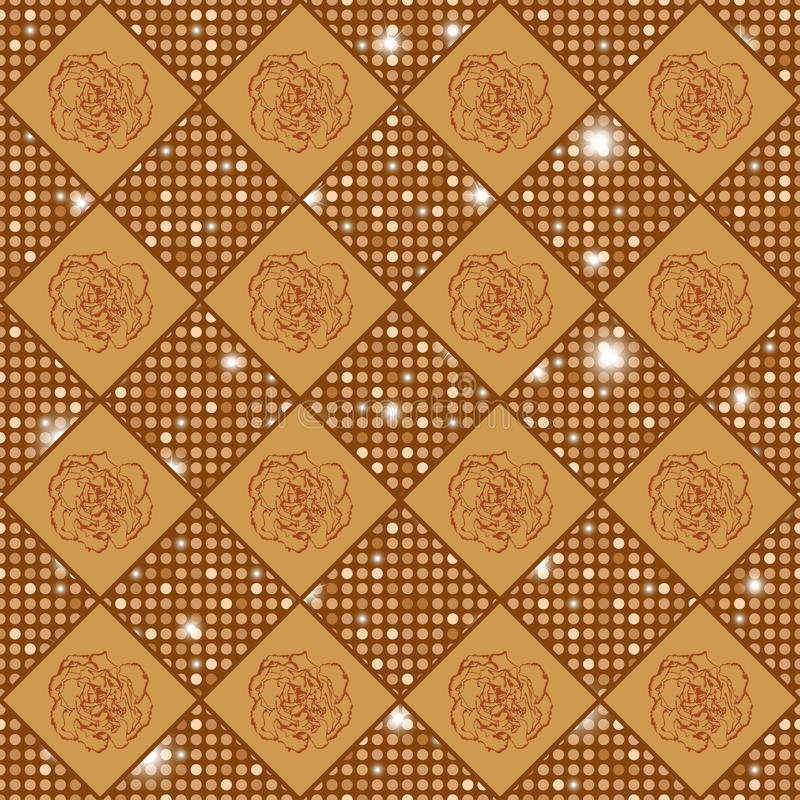 Het gouden vector naadloze schaak stileerde uitstekende textuur met kruidnagelbloemen en glanzende rondes stock illustratie