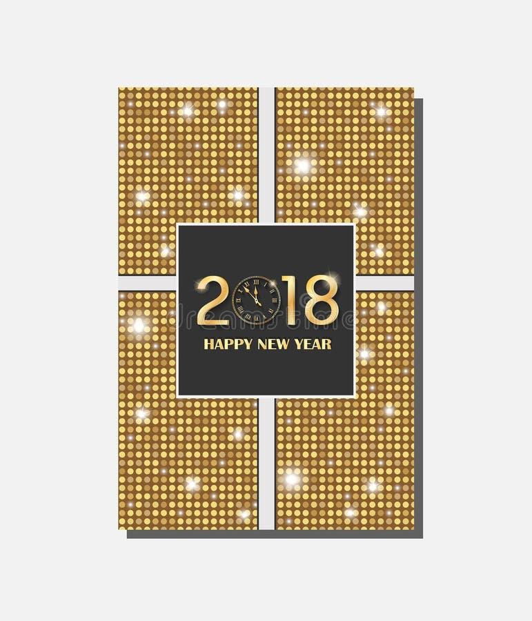 Het gouden vector uitstekende ontwerp van de giftkaart met glanzende rondesachtergrond Nieuw jaar 2018 concept royalty-vrije illustratie