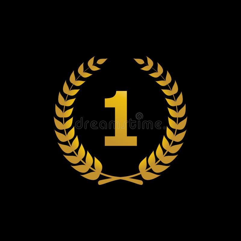 Het gouden vectorpictogram van de silhouetwinnaar met het aantal royalty-vrije illustratie