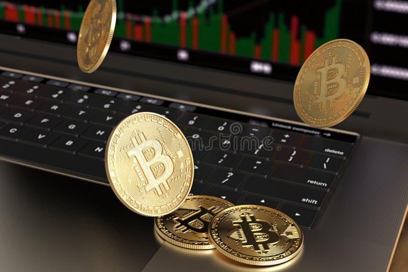 Het gouden virtuele geld die van Bitcoin op laptop toetsenbord vallen royalty-vrije stock afbeelding