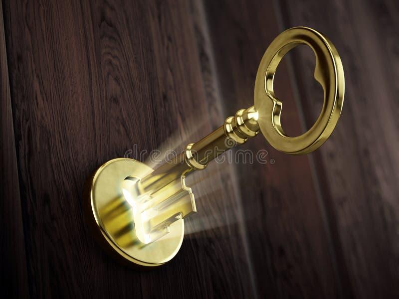 Het gouden zeer belangrijke bewegen zich in sleutelgat vector illustratie