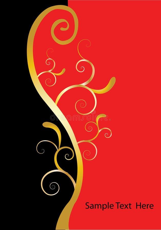 Het gouden zwarte rood van wervelingen royalty-vrije illustratie