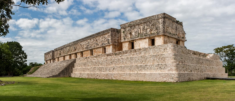 Het gouverneurspaleis, de archeologische plaats van Uxmal, Yucatan, Mexico stock afbeeldingen
