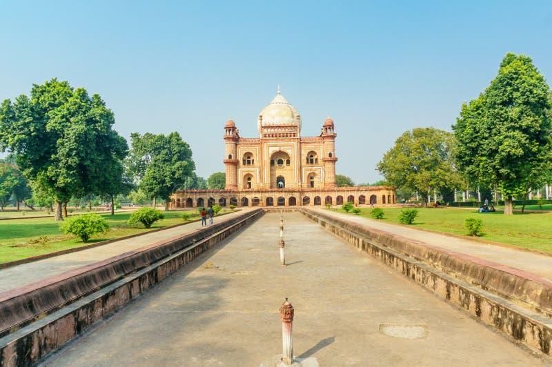 Het graf en het klusjes bagh tuinen van Humayun in Delhi stock foto's