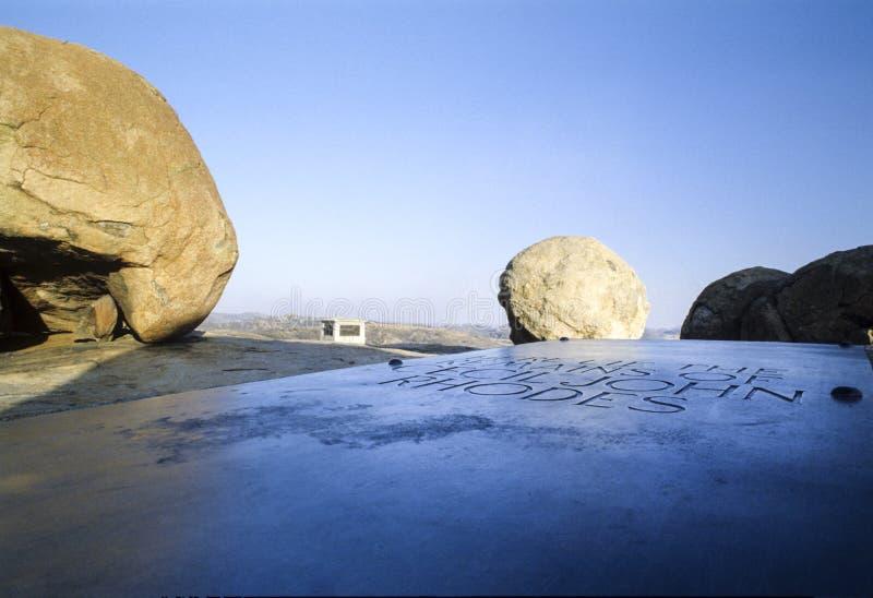 Het graf van Cecil J Het graf van Rhodos ` in Matobo, Zimbabwe stock foto