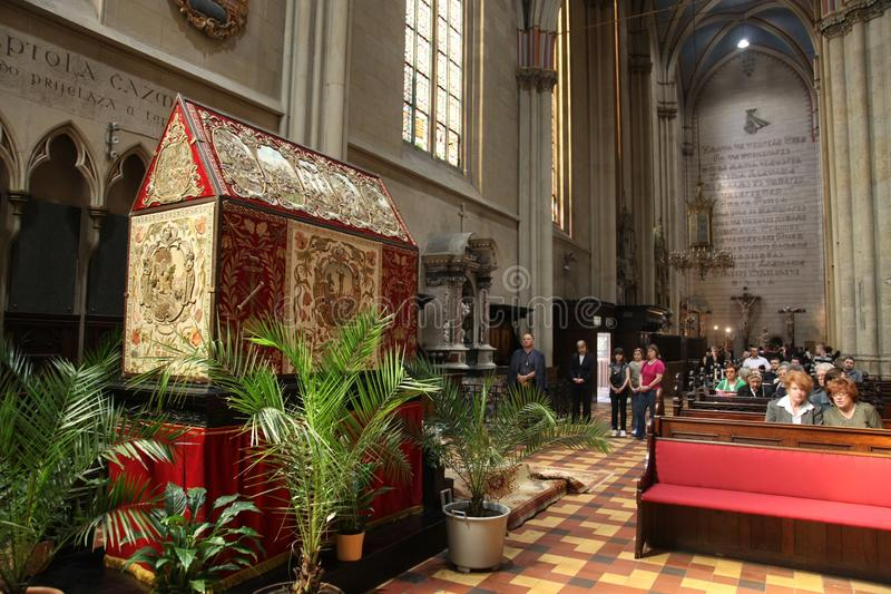 Het graf van Christus in de kathedraal van Zagreb stock afbeeldingen