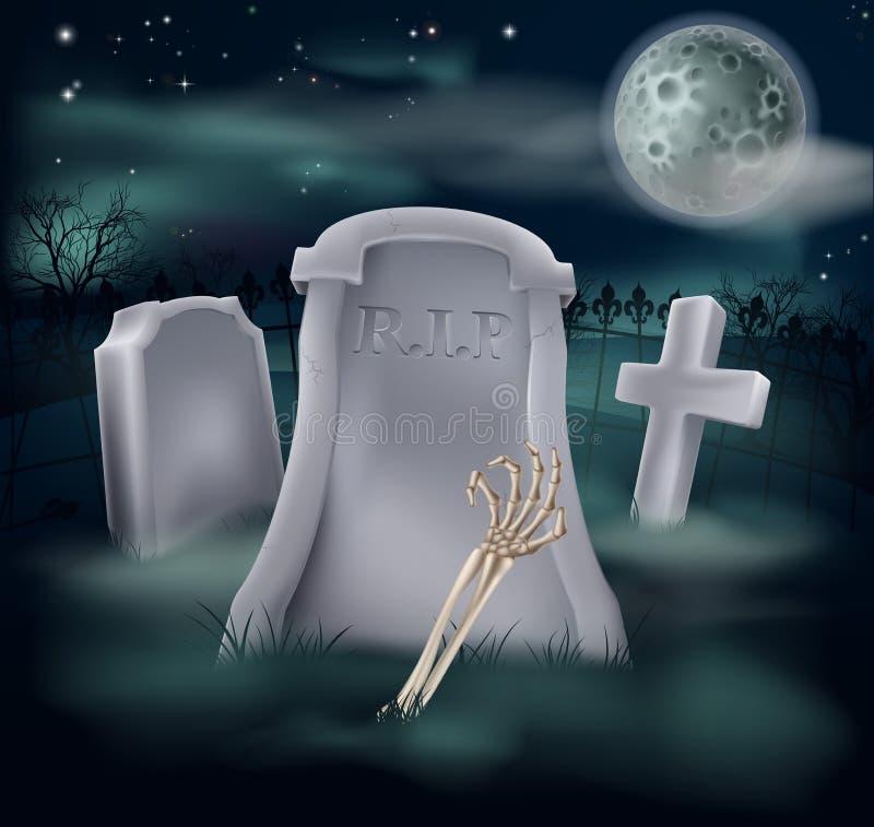 Het graf van de het skelethand van Undead royalty-vrije illustratie