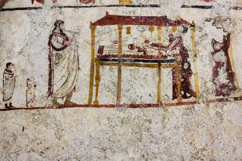 Het graf van de Lucanianfresko het schilderen Paestum salerno Campania Italië stock fotografie